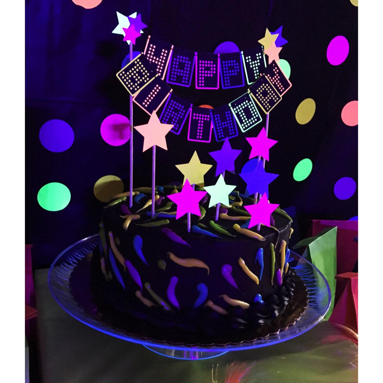 80s cake topper neon cake topper glow cake topper neon