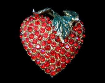 Vintage Heart Brooch RHINESTONE Heart Pin Strawberry Brooch Strawberry Jewelry Valentine Gift for Her Ruby Rhinestone Heart 1940s Enamel