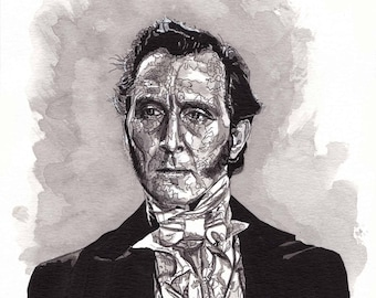 Art Print of pen/Ink painting by Raquel Gomes, of FRANKENSTEIN (Peter Cushing) from the movie The Curse of Frankenstein.