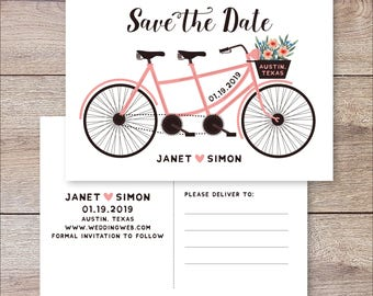 tandem bike save The Date, Bicycle wedding invitations, Tandem Bike Wedding, Unique Save The Date Invite, printable Save The Date