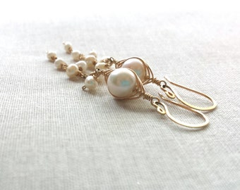 14k Gold Pearl Cascade Drops: 14k Gold Filled Wire Wrapped Freshwater Pearls and Herringbone Wire Woven Bridal Valentine Jewelry