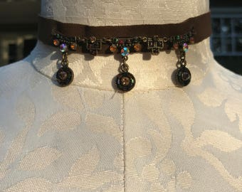 Bejeweled Soft Leather Choker
