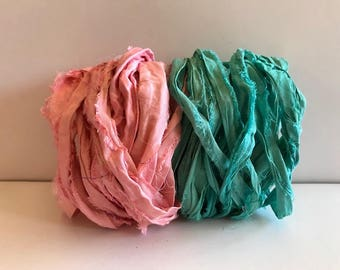 Sari Silk Ribbon-Recycled Pink & Aqua Sari Ribbon-10 Yards