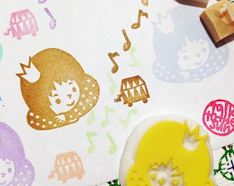 birthday princess rubber stamp set | girl stamp | music box | music notes | diy | card making | hand carved by talktothesun | set of 4