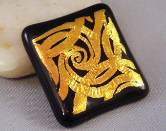 Dichroic Glass Cabochon Ribbons and Swirls Copper Gold on Black Hand Etched Fused Glass for Jewelry and Crafting by Solaris Beads 1998
