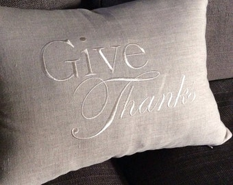 Give Thanks pillow cover, thanksgiving home decor pillow