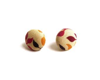 Earrings: small red leaves