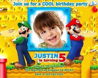 Mario invitation, Super Mario invitation, Mario party, Mario personalized invitation, Super Mario printable