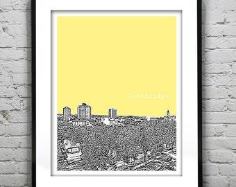 Lethbridge Alberta Canada Poster Print City Skyline Art Print AB Version 1