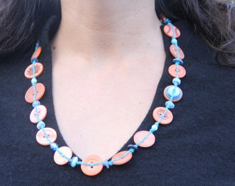 Orange and blue necklace // eco gifts // orange buttons // blue buttons // long chunky necklace