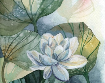 Water Lily flower Original painting