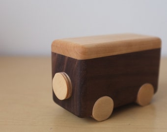 Walnut kids toy van, kids decor, wooden campervan, baby shower gift, hippie bus, pop top camper
