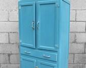 1950s Vintage Painted Shabby Chic Blue Kitchen Storage Larder Cupboard Cabinet