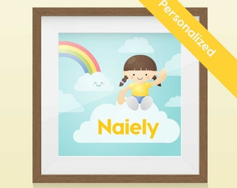 Personalized Kid Portrait - Rainbow Girl Art Print / Wall Art with name and image