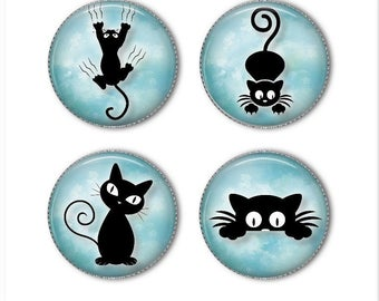 Cat magnets or cat pins, kitten magnets, kitten pins, cat silhouette, playful cat, refrigerator magnets, fridge magnets, office magnets