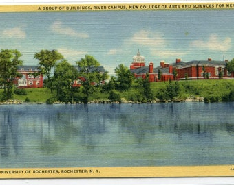 River Campus University of Rochester New York 1948 linen postcard