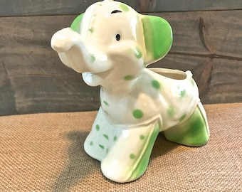 Vintage White with Green Polka Dot Elephant Planter or Pot