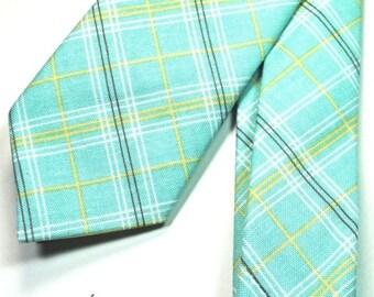 Blue Plaid Necktie Skinny Necktie Blue and Yellow Plaid Necktie Custom Neckties Cotton Neckties