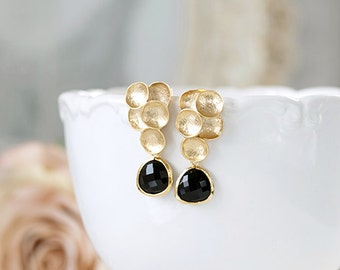 Jet Black Matte Gold Bubble Sterling Silver Post Earrings Black Onyx Glass Crystal Drop Earrings Gold and Black Wedding Bridal Earrings