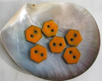 Orange buttons, six geometric buttons, ceramic buttons,  Handmade Stoneware Buttons, Sewing Supplies