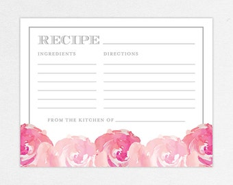 INSTANT DOWNLOAD Recipe Card for Bridal Shower (Haley) - DIY, Printable, Customizable Watercolor Flowers Design