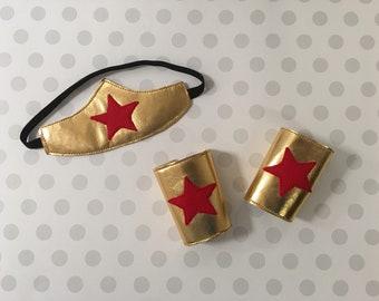 Wonder Woman Costume Super Hero Headband and Arm Bands Wonder Woman Headband Wonder Woman Arm Cuffs Baby Kids Halloween Costume