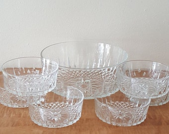 Vintage Crystal Bowls~Arcoroc Bowls~ Starburst Pattern~Set of 7 One Large Serving Bowl and 6 Medium Side Bowls