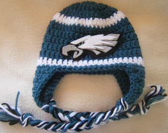 Crocheted Eagle's Inspired Team Colors or (Choose your team)  Football Helmet Baby Beanie/hat - Made to Order - Handmade by Me