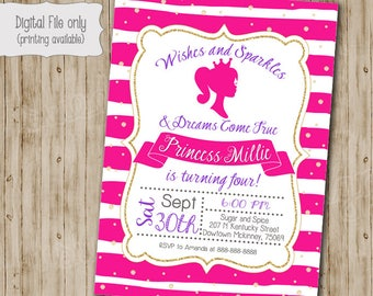 Barbie Birthday Invitation, Barbie Birthday, Barbie Party, Barbie Card, Barbie Invite, Vintage Barbie, Boho Birthday Invite, Doll, Pink