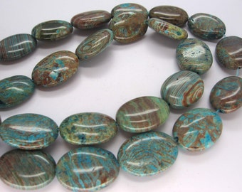 Beautiful Natural Blue Sky Jasper Smooth Puffed Oval Beads 20x15mm
