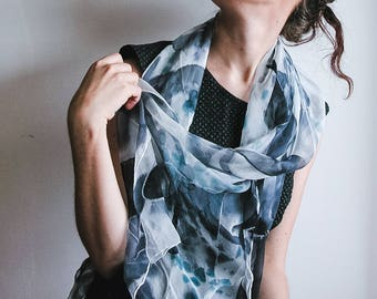Hand Painted Black and white Chiffon Silk Scarf