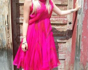 60s Geoffrey Beene Dress . Vintage Hot Pink Layered Silk Chiffon Convertible Collar Dress . XS S