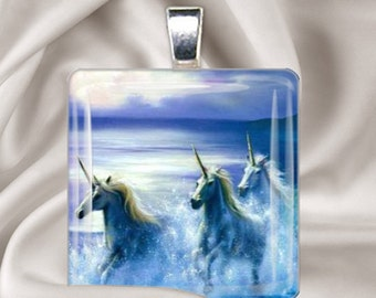 Unicorns in the Mist - Square Glass Tile Pendant Necklace