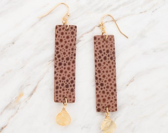 Leather earrings, Statement earrings, Leather bar earrings, Dangle drop earrings, Lightweight earrings, Geometric earrings,
