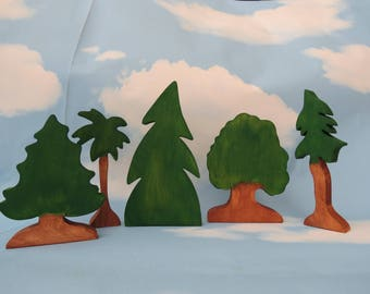 Set of Trees Handmade wooden Miniature for dollhouse
