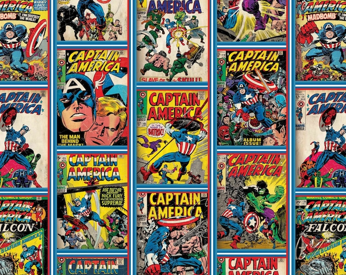 Featured listing image: Captain America Comic Covers, Avenger, Marvel Comic - Camelot 19161317-X  - Priced by the 1/2 yard