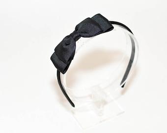 Black Bow Headband/ Alice in Wonderland Headband/ Black Headband/ Girls Hair Accessories/ Adult Hair Accessories/ Adult Headband/ Black