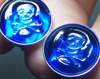 Blue Glass Jolly Roger Pirate Cufflinks- Handmade Lampwork Glass SRA