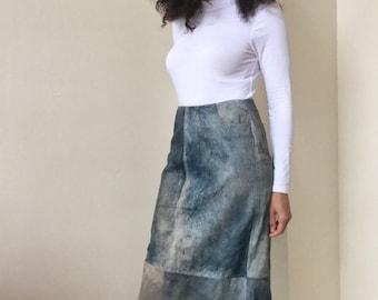 Vintage Boston Proper Blue Jean Wash 100% Leather Maxi Skirt
