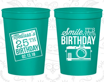 25th Party Favor Cups, Smile, its your birthday, vintage camera, Party Favor Cups, Fun Birthday Cups (20053)