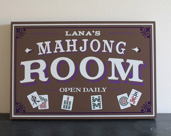 Personalized Mahjong Room Sign/Game Room/Father's Day/YOU choose Name and Colors/Cards/Wood Sign