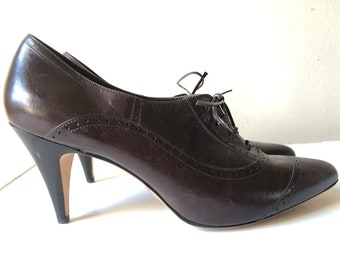 Vintage Dark Chocolate Heeled Oxfords by Brooks Brokthers