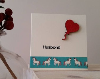 Husband Card for Birthday or Anniversary with Unicorns : Mini Handmade Card for a Special Husband / Hubby