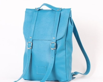 SALE! / Turquoise middle size leather backpack rucksack / In stock / Leather backpack / Leather rucksack / Womens backpack / Christmas Gift
