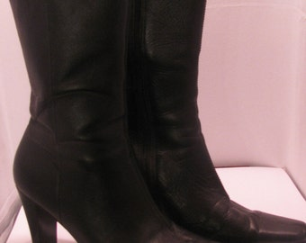 Black Leather Boot 7.5  12 inch