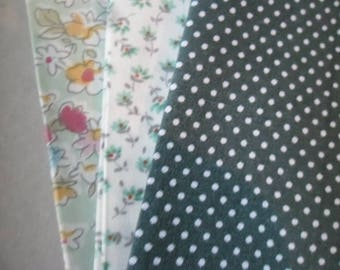 x 3 coupon patchwork green cotton patterned fabric 26 x 25 cm