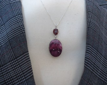 "Handmade Sterling Silver Purple Spiny Oyster and Amethyst Pendant, Crown Setting, on 18"" Sterling Box Chain"