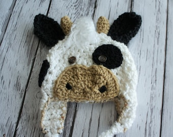 Baby Cow Hat - Baby Costume Hat- Baby Hats - Farm Animals Spotted Cow Hat - Black and White Cow Ear Flap Hat - Calf Hat - by JoJo's Bootique