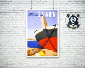 travel poster-retro advertising-Summer in ITALY-art print