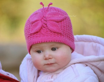 Knitting Pattern - Lady Butterfly Hat (From birth to up to 10 years sizes) in ENG and RUS